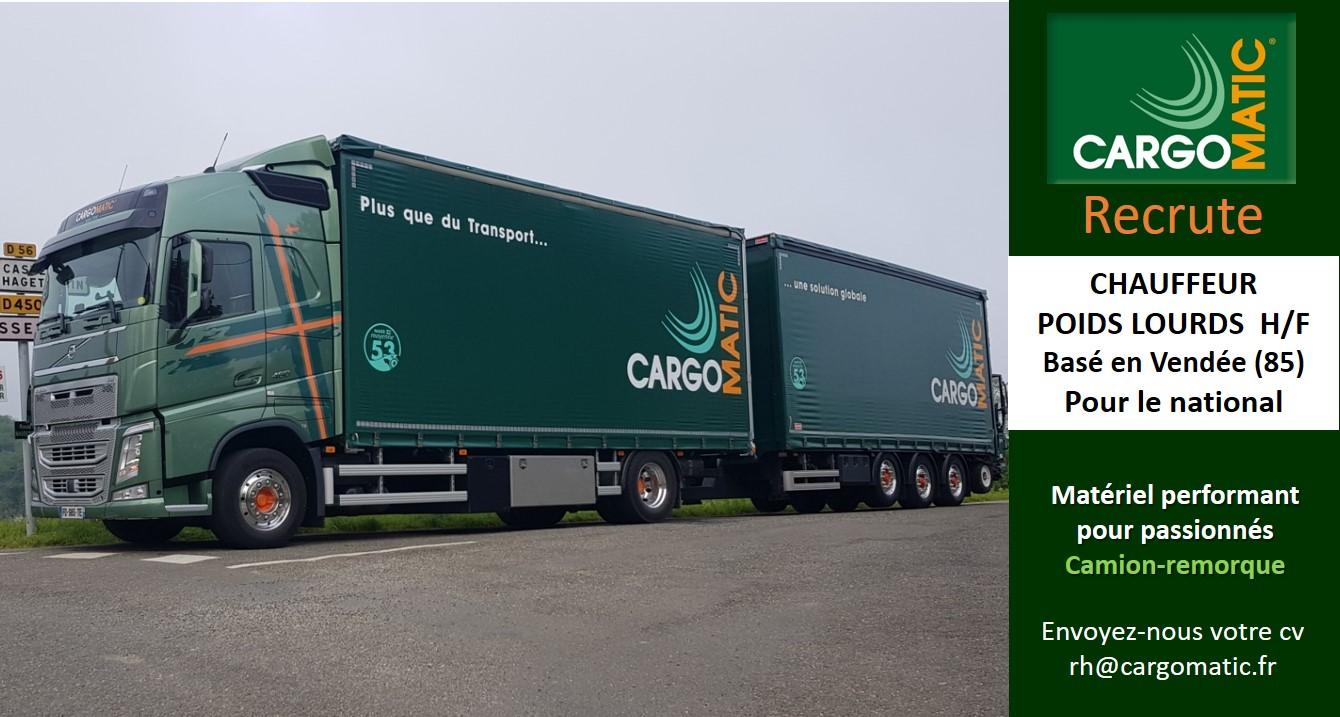 Cargomatic recrute conducteur PL en vendee 85