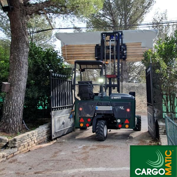 Cargomatic livraison acces difficile avec chariot embarque