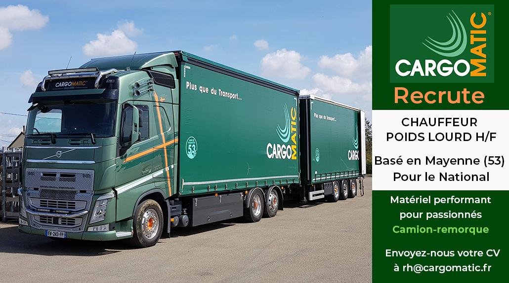 Offre d'emploi conducteur Poids Lourds Cargomatic base en Mayenne 53